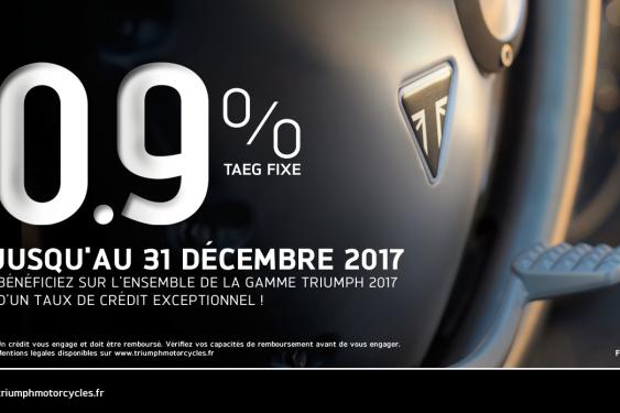 Offre Financement sur TOUTE LA GAMME TRIUMPH 2017